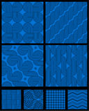 Seamless abstract geometric patterns. Eight seamless (repeatable) abstract geometric patterns (backgrounds, wallpapers) of blue colors, all included in swatch stock illustration