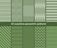 10 seamless abstract geometric patterns in green colors. Set of 10 different seamless abstract geometric patterns in green colors. Vector illustration for Royalty Free Illustration