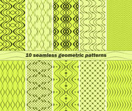 10 seamless abstract geometric patterns in lime and green colors. Set of 10 different seamless abstract geometric patterns in lime and green colors. Vector Royalty Free Illustration