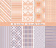 10 seamless abstract geometric patterns in orange and lilac colo. Set of 10 different seamless abstract geometric patterns in orange and lilac colors. Vector Stock Illustration