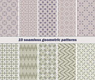 10 seamless abstract geometric patterns of striped vanes element. Set of 10 different seamless abstract geometric patterns with striped vanes elements. Vector Vector Illustration
