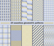 10 seamless abstract geometric patterns in yellow, blue, gray co. Set of 10 different seamless abstract geometric patterns in yellow, blue, gray colors. Vector Stock Illustration