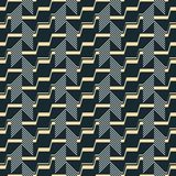 Seamless abstract geometric vector pattern. Seamless abstract pattern of striped parallelograms and stair step shaped broken lines. Endless geometric vector stock illustration
