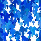 Seamless abstract arrow background pattern - vector design from blue rounded upward arrows with shadow effect. Seamless abstract geometrical arrow background stock illustration