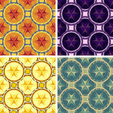 Seamless abstract geometrical art pattern set. Seamless colored abstract geometrical art pattern set Stock Photo