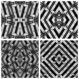 Seamless, abstract and geometrical 3D wall-paper, black-and-whit. E. Set. A decorative pattern with metal effect, a basis for design Stock Photos