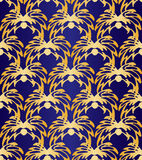 Seamless Abstract Golden Floral Pattern On Dark Violet Background. Exclusive Decoration Suitable for textile, fabric and packaging Royalty Free Stock Images