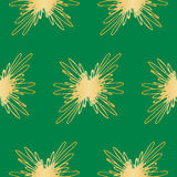 Seamless Abstract Golden Floral Pattern On Green Background. Exclusive Decoration Suitable for textile, fabric and packaging Royalty Free Stock Photography