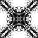 Seamless abstract graphic pattern. Seamless abstract kaleidoscope pattern. Hand drawn curly shapes, diagonal layout, black outlines on white background Royalty Free Stock Image
