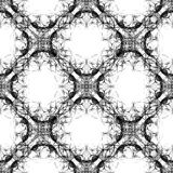 Seamless abstract graphic pattern. Seamless abstract kaleidoscope pattern. Hand drawn curly shapes, diagonal layout slightly shifted, black outlines on white stock illustration