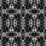 Seamless abstract graphic pattern. Seamless abstract kaleidoscope pattern. Hand drawn curly shapes, looks like organic life forms, white outlines on black Royalty Free Stock Photos