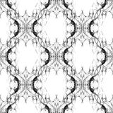 Seamless abstract graphic pattern. Seamless abstract kaleidoscope pattern. Hand drawn curly shapes, ogee layout slightly shifted, black outlines on white stock illustration