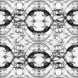 Seamless abstract graphic pattern. Seamless abstract kaleidoscope pattern. Hand drawn curly shapes, wavy layout slightly shifted, black outlines on white stock illustration