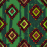 Seamless abstract hand-drawn ethno pattern, tribal background. Traditional mexican design elements on grunge background. Seamless pattern can be used for Stock Photography