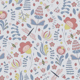 Seamless abstract hand-drawn floral pattern royalty free illustration
