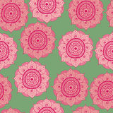 Seamless abstract hand-drawn oriental doddle pattern, pink, red and green color Stock Photos
