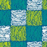 Seamless abstract hand-drawn pattern, waves background. Doodle stock illustration