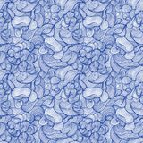 Seamless abstract hand-drawn pattern, waves background. Seamless Royalty Free Stock Photography