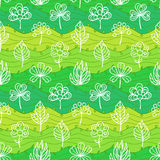 Seamless Abstract Hand Drawn Wave and Leafs Pattern. Spring Royalty Free Stock Photos