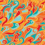 Seamless abstract hand-drawn waves pattern, wavy background. Sea Royalty Free Stock Photos