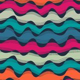 Seamless abstract hand-drawn waves pattern, wavy background. Sea Stock Images