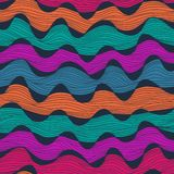 Seamless abstract hand-drawn waves pattern, wavy background. Sea Stock Photo