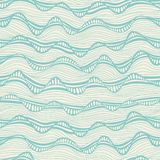 Seamless abstract hand-drawn waves pattern, wavy background. Sea Stock Photos