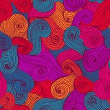 Seamless abstract hand-drawn waves texture, wavy background. Sea Stock Image