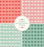 Seamless abstract holiday patterns in red and green. stock illustration