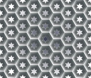 Seamless abstract honeycomb  background - hexagons. Each cell hole in a six-pointed star. Royalty Free Stock Image