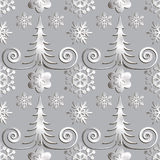 Seamless abstract illustration of nature. Figure 3D, Christmas trees, snowflakes, snowstorm. Color gray metal, silver. Vector stock illustration