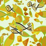Seamless abstract illustrations of fish, conceptual. Art, nature, background & graphic. Seamless abstract illustrations of fish, conceptual. Good for design Royalty Free Stock Photography