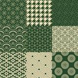 Seamless abstract japanese mesh pattern. Set Vector Illustration