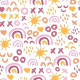 Seamless abstract kids painted sun and rainbow pattern. Doodle background children. Hand drawn repeating simple