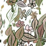 Seamless abstract leaves & flower illustrations background. Art, messy, pattern & wallpaper. Seamless abstract leaves & flower illustrations background. Cartoon Stock Illustration