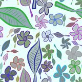 Seamless abstract leaves & flower illustrations background. Canvas, green, digital & nature. Seamless abstract leaves & flower illustrations background. Cartoon Royalty Free Illustration