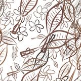 Seamless abstract leaves & flower illustrations background. Cartoon, decoration, texture & shape. Seamless abstract leaves & flower illustrations background Royalty Free Illustration