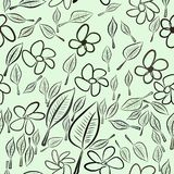 Seamless abstract leaves & flower illustrations background. Nature, cartoon, messy & wallpaper. Seamless abstract leaves & flower illustrations background Vector Illustration