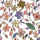 Seamless abstract leaves & flower illustrations background. Color, surface, creative & pattern. Seamless abstract leaves & flower illustrations background Royalty Free Illustration
