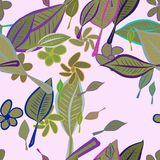 Seamless abstract leaves & flower illustrations background. Drawing, green, template & line. Seamless abstract leaves & flower illustrations background. Cartoon Stock Illustration