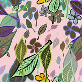 Seamless abstract leaves & flower illustrations background. Set, template, digital & concept. Seamless abstract leaves & flower illustrations background Royalty Free Illustration