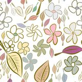 Seamless abstract leaves & flower illustrations background. Surface, sketch, pattern & style. Seamless abstract leaves & flower illustrations background Royalty Free Illustration