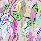 Seamless abstract leaves & flower illustrations background. Surface, sketch, shape & green. Seamless abstract leaves & flower illustrations background. Cartoon Royalty Free Illustration
