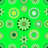 Seamless of abstract light green and light yellow round figures. Original green and yellow seamless for you design Royalty Free Stock Images