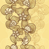 Seamless abstract marine lace beige background Stock Image