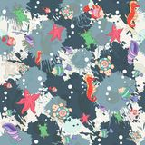 Seamless abstract marine life.Seamless pattern Royalty Free Stock Images