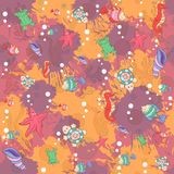 Seamless abstract marine life.Seamless pattern Stock Photos