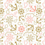 Seamless abstract marine pattern. Sea anchors, rope and wheels. Nautical summer hipster background. Design  for paper, wallpaper, textile, fabric, and other Stock Photography