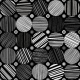 Seamless abstract monochrome pattern. Hand drawn striped circles Stock Images