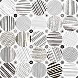 Seamless abstract monochrome pattern. Hand drawn striped circles. Seamless abstract background with striped circles Stock Image